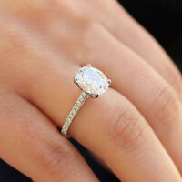 14K WHITE GOLD OVAL CUT MOISSANITE DIAMOND ENGAGEMENT RING BRIDAL WEDDING 1.75CT