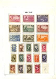 [OP5328] Suriname lot of stamps on 12 pages