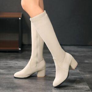 Women Fashion Faux Suede Block Heel Elastic Knee High Riding Boot Side Zip Shoes