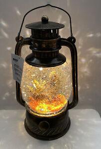 "Pumpkin  Water SNOW globe SWIRLING Lighted Thanksgiving Lantern 8"" (TG3) Gourd"