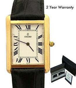 Concord 14K Yellow Gold Quartz 25 X 33mm Box & Papers Watch