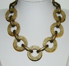 PONO JOAN GOODMAN ITALY REVERSIBLE RESIN & GOLD TONED METAL LARGE BOLD NECKLACE