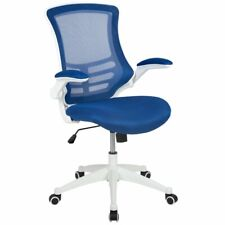 Flash Furniture Mid Back Mesh Office Swivel Chair in Blue and White