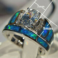 2PCS Womens Jewelry 925 Silver White Sapphire Weeding Ring Jewelry Gift