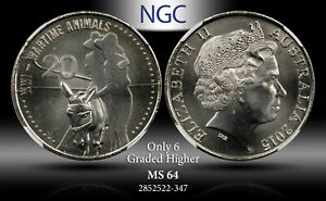 2015 AUSTRALIA 20 CENTS WARTIME ANIMALS NGC MS 64 ONLY 6 GRADED HIGHER #G