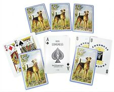 Airedale Lakeland Terrier Dog Congress Playing Deck Cards Vintage Usa Gold Edge