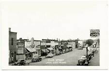 Lake City MN Main Street View Store Fronts Old Cars RPPC Real Photo Postcard