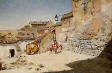 Dream-art Oil painting William Merritt Chase Sunny Spain Village scene & donkey