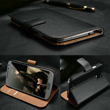 LUXURY REAL GENUINE LEATHER SLIM WALLET STAND COVER CASE SAMSUNG S3 MINI i8190