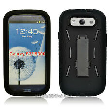 SAMSUNG GALAXY S3 I9300 BLACK HEAVY DUTY ARMOR COVER DOUBLE LAYER KICKSTAND