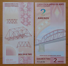 FEDERATION OF NORTH AMERICA 2 AMEROS POLYMER BANKNOTE 2011 UNC