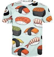 New Fashion Womens/Mens Sushi Heaven 3D Print Casual T-Shirt YT1033
