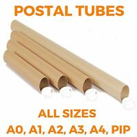 Strong Cardboard Postal Tubes + Plastic End Caps - ALL SIZES A0 A1 A2 A3 A4 PIP