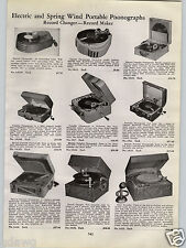 1940 PAPER AD Electric Spring Wind Up Crank Record Player Phonograph Portable