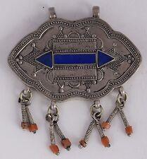 Afghan Turkman sterling silver Lapis Coral vintage Tribal pendant HUGE ethnic