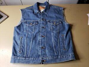 Levis Distressed Denim Jean Trucker Vest Jacket Men's Size Large