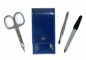 Leather IN Royal Blue & Stainless Steel Inox Manicure Case Set - DOVO Solingen