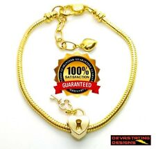 18k Yellow Gold Snake Chain Bracelet Love Style With Heart Lock & Key D203S