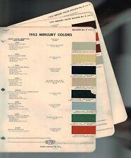 1953 Mercury exterior COLOR CHIP SAMPLE PAINT CHART Brochure