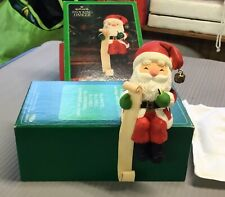 Vintage Hallmark Santa Claus Christmas List Holiday Stocking Holder