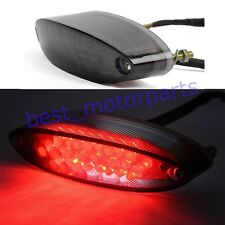 UNIVERSAL LED MOTORCYCLE REAR TAIL BRAKE STOP LICENSE PLATE RED LIGHT SMOKE LENS