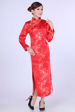 red Chinese Style embroider women's long sleeves Dress/Cheong-sam sz:S-XXL