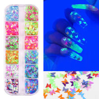 12 Grids Butterfly Nail Art Glitter Sequins Maple Flakes Accessories Decorations