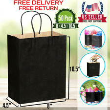 [50 Pcs]-Black Paper Shopping Kraft Retail Merchandise Bags With Handles Bulk .