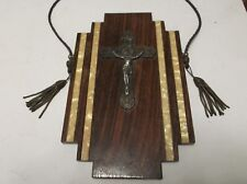 Vintage Brass & White Metal Mounted Christ On The Cross