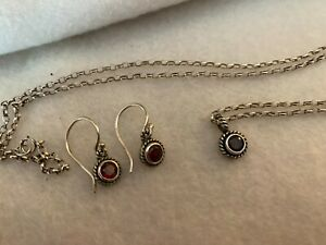 Garnet Necklace Earring Pewter Sterling Silver Set