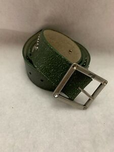 Guess Womens Belt Brown Green Leather Rhinestones Studded Size L