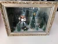 Vintage Shadowbox Handcrafted Snowy Winter Scene Skier Trees Sparkly Silver/Gold