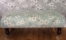 A Quality Long Footstool In Laura Ashley Iona Duck Egg Fabric