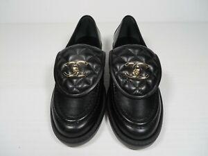 NIB 2021 Chanel black Unterlocking CC logo loafers 35.5-41-41.5 sizes