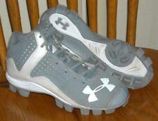 New listing UNDER ARMOUR LEADOFF MID RM Baseball Softball Cleats Sz 3Y Youth UA Gray White