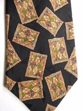 "Hart Shaftner & Marx Men's Silk Tie 57"" X 3.75"" Black w/ Multi-Color Geometrics"