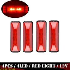 4x Red 4LED Side Marker Lights Car Truck Trailer Indicator Fender Lamp 4inch 12V