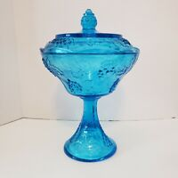 Vintage Indiana Carnival Glass Harvest Grape Blue Iridescent Candy Dish With Lid