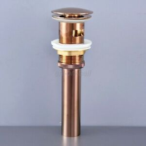 Rose Gold Brass Large Cap Pop UP Sink Basin Waste / Drain With Overflow asd075