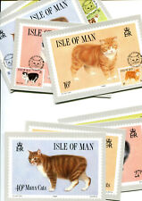 Isle of Man 1989 Manx Cat PHQ cards, 2 sets, 1 mint, 1 FDI
