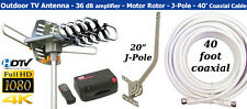 150 Mile Outdoor TV Antenna Bundle Kit, Includes Antenna, Amp, Pole & 40' Cable.