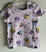 NEW Old Navy Girls 12-18 18-24 MONTHS 2T 4T MINNIE MOUSE Tee T-Shirt GRAY #21418
