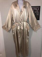 Vtg Jaclyn Smith Gold Hi Shine Liquid Satin Peignoir Robe Dressing Gown Xl Sissy
