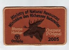 2005 ONTARIO MNR MOOSE HUNTER PATCH-MICHIGAN DNR DEER-BEAR-ELK-CREST-BADGE-FISH