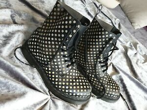 Dr Martens uk 3 Black White Spotty Ladies Kids doc goth emo ankle boots leather