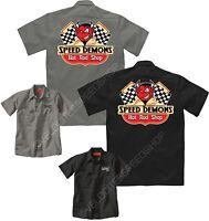 Velocitee Mens Mechanic Garage Work Shirt Speed Demons Hotrod Rockabilly W17382