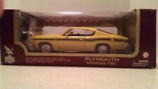 1:18 Road Legends 1969 Plymouth Barracuda 383 Yellow Black Stripe Diecast MIB