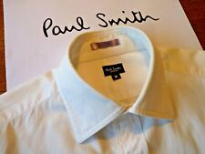 PAUL SMITH Shirt in 100% Cotton, Classic Shirt, White with Rainbow Cuffs, Size M