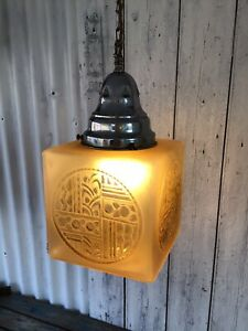 Stunning Rare Art Deco 1930's French Frosted Glass Cube Pendant Light Fitting