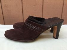 Cole Haan D22594 Women's Brown Suede Mid Heel Mules Slip on Shoes US Sz 10 B